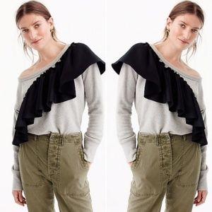 NWT J. Crew Asymmetrical Ruffle Sweatshirt